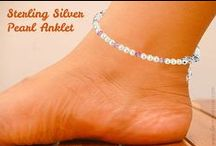 GemAvenue.com Sterling Silver Swarovski Pearl Anklet