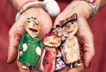 Julie Arkell / Artiste anglaise Personnage et objet en papier mâché, tissus, dentelles et crochet / by Dominik de Petits potins cousus main