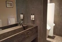 Bespoke Washroom Cubicles at The Dog & Badger Marlow / Our frameless shower enclosure team created these painted and laminated bespoke washroom doors, cubicles and dividers for the Dog & Badger luxury bar & restaurant in Marlow.