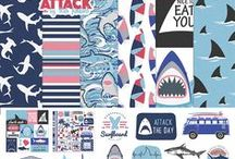 """Shark Attack by Heidi Rowland / Calling all """"Shark Week"""" lovers, this collection is for you! Sink your teeth into Shark Attack and feed your addiction with humorous one-liners, retro VW's and beach-bum-inspired art."""