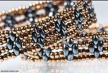 Miçangas Twin / Superduo Preciosa / Bijuterias, Pulseiras, bordados feitos com as miçangas Twin também conhecida internacionalmente como Superduo beads.