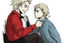 Hetalia ships / Hetalia Denmark and Norway cuz they're cute, UsUk duh, PruHun right in the feels, PruCan cuz I can, GerIta the soul of hetalia, Spamano, SuFin, IceHong, PolandxLithuania, er meh gerd.