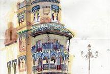 Art + Art / Molti pittori dall'Ottocento sino a oggi hanno rappresentato paesaggi urbani in cui compaiono pali ed elementi di arredo, a riprova di quanto fossero considerati parte delle architetture