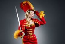 Stephanie van der Strumpf Hussar sabrage act costume / Stephanie van der Strumpf. Hussar sabrage burlesque act. Only burlesque dancer performing sabrage on the stage
