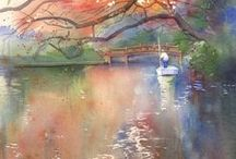My Favourite Watercolour Paintings / Watercolour Art From My online Co-workers and Friends