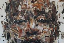 Benon Lutaaya / figurative, portraiture, expressionism, mixed media, painting, collage, acrylics, benon lutaaya, African art,