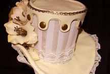 Hats / pretty in pink, Victorian, vintage, tea cups, candy floss, wonderland, pinup, flowers,