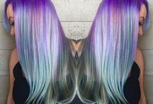 Mermaid Unicorn Rainbow Hair / Blue. Pink. Purple. Yellow. Vibrant fashion shades are #HotRightNow. Most desirable: Mermaid Unicorn Rainbow shades artfully mixed and placed to bring out your true beauty personality! #HotOnBeauty
