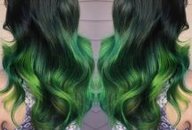 Green Hair Nails and Makeup / Whether it's neon green or soft mint pastel, straight or mixed in beautiful hair color designs, this hair color has come into its own.