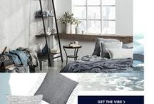 Fresh Cove Collection / Refreshing and relaxing, this collection is ideal for starting the season on a calm, serene note. Immerse yourself in the organic simplicity of deep indigo blue, soft greys and creamy whites. Touches of cement, linen and glass add texture and style for a cozy, rustic look.