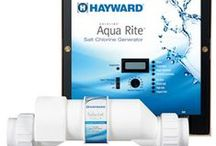 Hayward Sanitization / No more mixing, measuring and messing around with liquid or tablet chlorine again. Now you can automatically turn ordinary salt into a self-regenerating supply of pure chlorine for pool and spa water that's clean, clear and luxuriously soft. Electronic chlorine generation has become the simple, safe and affordable alternative to using harsh, chemically-produced chlorine to sanitize pools and spas.  / by Hayward Pool Products