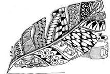 feathers zentangle