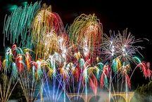 Fireworks,northern lights