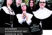 Dinnershow Stampei in de abdij / Themafeest kolderiek kloosterfeest met komische Sisteract  Hét kloosterfeest is het themafeest voor brasnarren, vreetbuiken, zuiplappen en andere genieters.