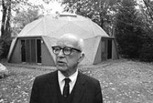 """Buckminster Fuller / A designer, author, and neo- futuristic architect Richard Buckminster """"Bucky"""" Fuller published more than 30 books and popularized the geodesic dome. He was a scholar and professor at Southern Illinois University from 1959-1971."""