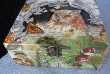 decoupage box, ilustation /  przedmioty zdoboine decoupage, ilustracje, pocztówki