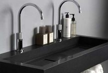 Bathroom / Minimalistic bathrooms and toilets with beautiful tiles, faucets and showers.