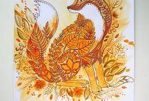 Kredki i kolorowanki / Coloring for adults, antystresowy trening kolorowy, kredki. Johanna Basford, Enchanted Forest, Jardin secreto, Doodle Invasion, Animorphia, flowers.  Kredki, colored pencils