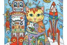 """Creative Cats / These fancy felines are from my book, """"Creative Cats,"""" showing the pretty pussycats in themed settings adorned with paisleys, hearts, stars, and more."""