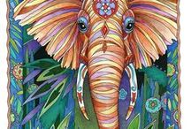 Elegant Elephants / From the adorable to the awe-inspiring, thirty-four illustrations of elephants make up my coloring book, Elegant Elephants. The drawings are inspired by the strength, intelligence, and spirituality of these beloved creatures.