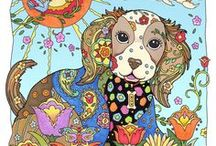 Dazzling Dogs / Here is a pack of pooches from my delightful coloring book for dog lovers called, Dazzling Dogs. Flowers, paisley patterns, dog bones, and other ornaments highlight dogs going on road trips, digging fossils, and reveling in nature, Dazzling Dogs is designed to be a colorist's best friend.