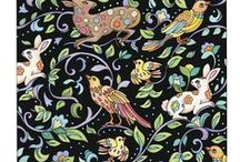 """Textiles / From elegant tapestries to """"conversational"""" fabrics, the original designs in this coloring book provide plenty of variety. Some are retro, some contemporary, and the subjects vary from florals to tossed images of spacecraft, tea cups, butterflies, animals, boots, chairs, and more."""