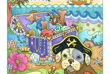Playful Puppies / These petite pooches are adorned with patterns of flowers, stars, doggie bones and other decorative elements. A pirate, train engineer, a Corgi princess and more invite you to create your own color masterpiece. Playful Puppies Coloring Book is now available.
