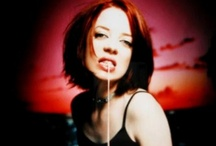 """♬ Shirley Manson's Garbage! ♬ / Garbage is an alternative rock band formed in Madison, Wisconsin, in 1994. The group consists of Scottish singer Shirley Manson (vocals, guitar) and American musicians Duke Erikson (bass, guitar, keyboards, percussion), Steve Marker (guitar, keyboards) and Butch Vig (drums, percussion). All four members are involved in songwriting and production. Garbage released a string of increasingly successful singles in 1995–1996, including """"Stupid Girl"""" and """"Only Happy When It Rains"""".  / by Paul Davis"""