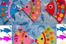 activités manuelles les poissons, la mer  / activités manuelles les poissons, la mer réalisations des enfants chez nounoudunord