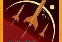 SPACE TRAVEL / SPACE TRAVEL POSTER The Cold War period was a time of a geopolitical tension between the Soviet Union and the United States. The forty years of the competition between powers were also a great inspiration for a space travel.