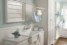 Bathroom Ideas / I have waited 30 years to get out bathroom renovated! I would like to have a soft feminine white and pastel coloured room so this is a collection of inspirational clippings. I am drawn to wainscoting, it appears.