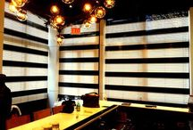Black & White wood blinds for IL MULINO Restaurant / Custom wood blinds for IL MULINO PRIME Restaurant