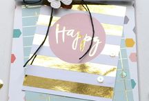 Gold on cards / Foil or metallic embossing and glitter as a design element in card making