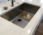 """Kitchen Sink Ideas / Our stainless steel undermount kitchen sinks come in a variety of styles, including zero radius kitchen sinks, 1/2"""" radius kitchen sinks, apron front sinks, drainboard sinks, the new ledge kitchen sinks, and perfect offset drain kitchen sinks. Get Started Today!  #kitchensinksideas"""