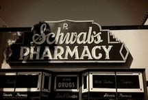 "♥ SCHWAB'S PHARMACY on Sunset Blvd. / In 1932 Schwab's Pharmacy opened at 8024 Sunset Blvd,  Los Angeles CA.  The legendary Schwab's served as  ""headquarters"" for actors & movie industry dealmakers through the 1950s.  Schwab's not only sold medicine & beauty products it had a very famous soda fountain counter where actresses hoped to be ""discovered.""   After closing in1983 the contents were auctioned off (including the celebrity Rolodex !)   In 1988  the wrecking ball took down the famous landmark in the name of progress./sr / by Sharon Richardson"