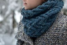 Knitted infinity scarves