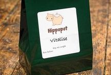 Hippopot Herbal Teas / We blend various herbs and teas for all occasions. All our packs are 80 grammes of loose herbs. This should make around 25 to 30 cups. We also sell accessories, such as pots, strainers and cups, so you can enjoy the perfect infusion!