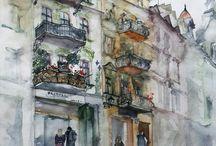 cityscape in watercolor