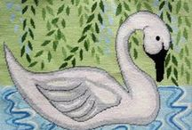 Inspired by swans and other feathered friends / Everywhere I look I see another swan to stitch....