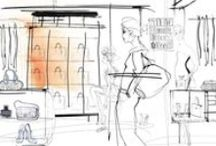 FRI, Fashion Research Italy, Bologna, wallpaper watercolor illustrations / A series of illustrations made with watercolor, for wallpaper, a showroom for fashion, client Nute  for La Perla