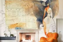 Wallpapers, Wallpepper showroom, Milan, watercolor illustrations / I realised the watercolor illustrations for Spazio 81 and Wallpepper, in Milan, that produce wallpaper for reastaurants, hotels, Spa, Resorts. I love to see my paintings in such a big size!    www.wallpepper.it