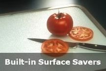 Built-in Cutting Boards / Vance Built-in Surface Saver® Tempered Glass cutting boards can be installed directly in to counter tops with a sleek and decorative seamless rim, providing a durable, heat resistant and easy to clean surface. Perfect for avoiding and/or repairing damage to counter tops