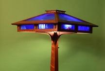 Prairie Craftsman Floor Lamp with Cobalt Blue Slag Glass