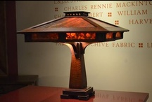 Mission Style Lamp with Coffee and Mustard Slag Glass