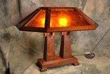 Saugatuck Double Pedestal Mission Oak Lamp