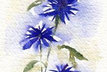 Flower painting - watercolors, DIY