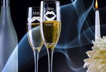 Wedding Champagne Flutes-Custom Engraved / Custom Engraved Wedding Champagne Flutes, Couple Toasting Glasses