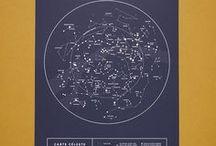 carte céleste - édition bleu nuit - argent