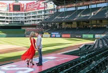 Rangers Ballpark Engagement Photos / Fun baseball themed engagement photos captured at Rangers Stadium.