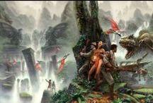 Hollow Earth inspiration / Hollow Earth Expedition, c'est l'aventure en Terre creuse dans les années 30. Dans cet univers pulp, la Terre est creuse et à l'intérieur de cette coquille se trouve un monde foisonnant de cité perdues et de peuples disparues. Peuplé de dinosaures, de créatures étranges et de descendants des grandes civilisations, ce monde fantastique est déjà convoité par les nazis et autres profiteurs de la surface.